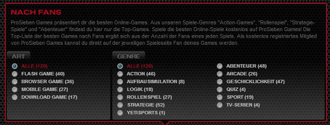 Filter bei Prosieben Games